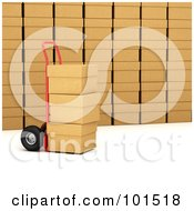 Royalty Free RF Clipart Illustration Of A 3d Red Hand Truck Loaded With Boxes In A Shipping Warehouse