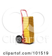 3d Red Hand Truck Loaded With Gold Bars