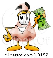 Clipart Picture Of A Nose Mascot Cartoon Character Holding A Dollar Bill by Toons4Biz