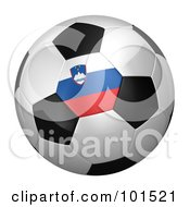 Royalty Free RF Clipart Illustration Of A 3d Slovenia Flag On A Traditional Soccer Ball