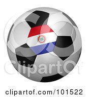 Royalty Free RF Clipart Illustration Of A 3d Paraguay Flag On A Traditional Soccer Ball