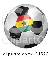 Royalty Free RF Clipart Illustration Of A 3d Ghana Flag On A Traditional Soccer Ball