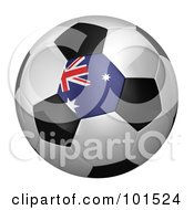 3d Australian Flag On A Traditional Soccer Ball
