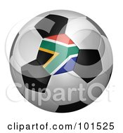 Royalty Free RF Clipart Illustration Of A 3d South Africa Flag On A Traditional Soccer Ball
