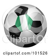 Royalty Free RF Clipart Illustration Of A 3d Nigeria Flag On A Traditional Soccer Ball
