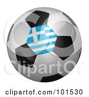 Royalty Free RF Clipart Illustration Of A 3d Greece Flag On A Traditional Soccer Ball