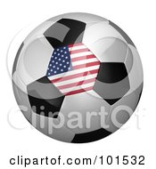 Royalty Free RF Clipart Illustration Of A 3d American Flag On A Traditional Soccer Ball by stockillustrations