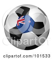 Royalty Free RF Clipart Illustration Of A 3d New Zealand Flag On A Traditional Soccer Ball