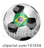 Royalty Free RF Clipart Illustration Of A 3d Brazil Flag On A Traditional Soccer Ball