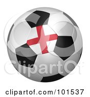 Royalty Free RF Clipart Illustration Of A 3d England Flag On A Traditional Soccer Ball by stockillustrations