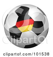 Royalty Free RF Clipart Illustration Of A 3d Germany Flag On A Traditional Soccer Ball by stockillustrations