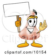 Clipart Picture Of A Nose Mascot Cartoon Character Holding A Blank Sign by Toons4Biz