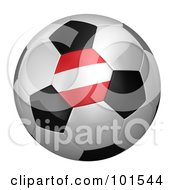 Royalty Free RF Clipart Illustration Of A 3d Austria Flag On A Traditional Soccer Ball