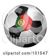 Royalty Free RF Clipart Illustration Of A 3d Portugal Flag On A Traditional Soccer Ball