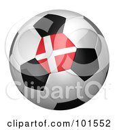 Royalty Free RF Clipart Illustration Of A 3d Denmark Flag On A Traditional Soccer Ball