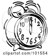 Black And White Alarm Clock Ringing At 12 O Clock
