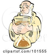 Royalty Free RF Clipart Illustration Of Father Time Holding An Hourglass by Andy Nortnik