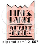 Royalty Free RF Clipart Illustration Of A Pink Dine And Dance Admission Ticket by Andy Nortnik