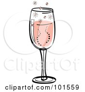 Royalty Free RF Clipart Illustration Of A Glass Of Bubbly Pink Champagne