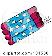 Royalty Free RF Clipart Illustration Of A Bundle Of Red And Blue Firecrackers With Stars by Andy Nortnik
