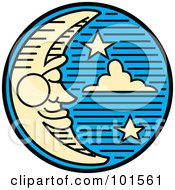 Royalty Free RF Clipart Illustration Of A Pleasant Crescent Moon Face And Stars In The Night Sky by Andy Nortnik