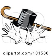 Royalty Free RF Clipart Illustration Of Jazz Hands With A Cane And Top Hat by Andy Nortnik