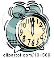 Green Alarm Clock Ringing At Midnight Or Noon