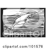 Royalty Free RF Clipart Illustration Of A Black And White Engraved Narwal Whale Monodon Monoceros by xunantunich