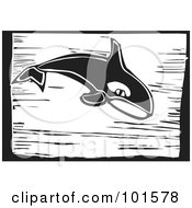 Royalty Free RF Clipart Illustration Of A Black And White Engraved Killer Whale Orcinus Orca by xunantunich