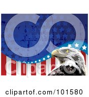 Royalty Free RF Clipart Illustration Of A Bald Eagle Head And Grungy American Flag Background by Pushkin