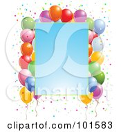 Royalty Free RF Clipart Illustration Of A Gradient Blue Party Sign Bordered With Confetti And Party Balloons