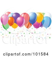 Royalty Free RF Clipart Illustration Of Colorful Star Confetti And Floating Party Balloons