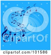 Royalty Free RF Clipart Illustration Of A Blue Swirl Background With Glowing Orbs And Music Notes