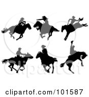 Poster, Art Print Of Digital Collage Of Six Cowboy On Horseback Silhouettes