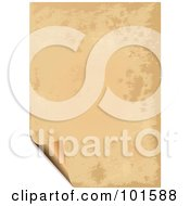 Royalty Free RF Clipart Illustration Of A Piece Of Parchment Paper With A Turning Corner