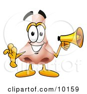 Clipart Picture Of A Nose Mascot Cartoon Character Screaming Into A Megaphone