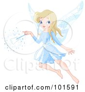 Royalty Free RF Clipart Illustration Of A Beautiful Blond Tooth Fairy In Blue With A Tooth Wand by Pushkin