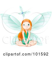 Royalty Free RF Clipart Illustration Of A Red Haired Fairy Girl In A Green Dress Looking Up At A Butterfly