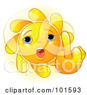 Royalty Free RF Clipart Illustration Of A Cute Sun Face Holding Up A Middle Finger by Pushkin