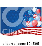 Royalty Free RF Clipart Illustration Of A Background Of Stars Fading Into Blue Red And White Stripes And Independence Day Balloons