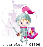 Royalty Free RF Clipart Illustration Of A Cute Boy Knight Standing Near A Purple Castle by Pushkin