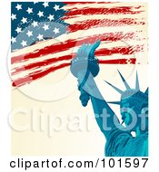 Royalty Free RF Clipart Illustration Of A Grungy American Background Of The Flag And The Statue Of Liberty