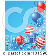Royalty Free RF Clipart Illustration Of A Blue Background Bordered In American Party Balloons Confetti And Ribbons