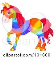 Royalty Free RF Clipart Illustration Of A Rainbow Colored Horse With Golden Hooves And Red Hair