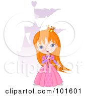 Royalty Free RF Clipart Illustration Of A Red Haired Princess Girl Standing Near A Purple Castle