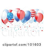 Royalty Free RF Clipart Illustration Of A Group Of American Balloons With Star Confetti by Pushkin
