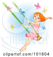 Happy Red Haired Girl Swinging Past Butterflies