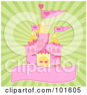 Pink And Yellow Castle On A Blank Banner Over A Green Burst Background