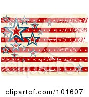 Grungy American Background Of Stars And Stripes With Distress Marks