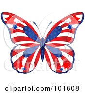 Royalty Free RF Clipart Illustration Of A Patriotic American Butterfly With Stars And Stripes by Pushkin